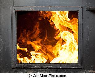 incinerator - Big flames in the fireplace - incinerator