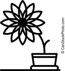Big flower pot icon, outline style