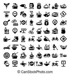 Elegant Food Icons Set Created For Mobile, Web And Applications.