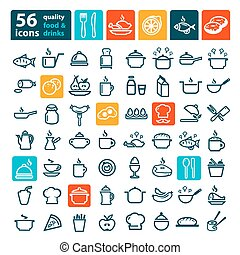 big food icons set