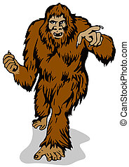 Big Foot Pointing - Illustration of big foot pointing, done...