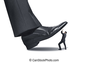 stepping - big foot stepping on businessman