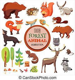 Big Forest Funny Animals Set. Vector Collectiorn, Isolated On White Background, Fox, Squirrel, Bear, Wolf and Others,
