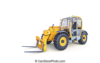 big forklift on the white background.