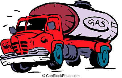 Big fuel gas tanker truck