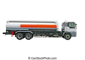 Big fuel gas tanker truck on the white background