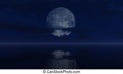 Big full moon above water surface