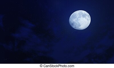 Big full moon in a dark night sky