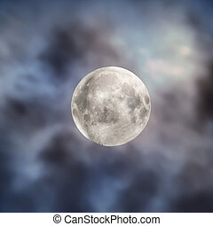 Big full moon on night sky with clouds