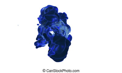 Big blue fume or ink in water move in slow motion with alpha mask. Use it for background, transition or overlays. 3d motion graphics element VFX ink or smoke. Version 7.