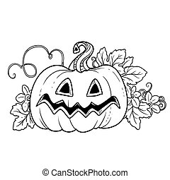 Big funny lantern from pumpkin with the cut out of grin and leaves outlined for coloring page