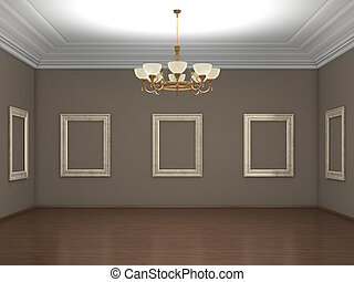 Big gallery empty with chandelier; 3d illustration