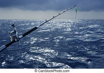 Big game boat fishing in deep sea