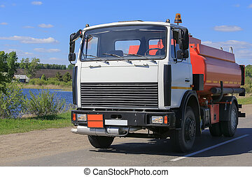 gas-tank truck goes on highway