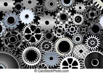 Big gears - Lot of mechanic gears and wheels 3d