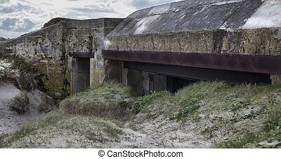 Big german bunker part of the Atlantic Wall, Brittany, France