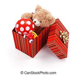 Big gift box full of toys