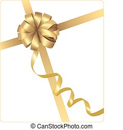 Big gift gold bow with a ribbon. Vector.