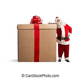 Big gift - Magic Christmas with Santa Claus with a big gift