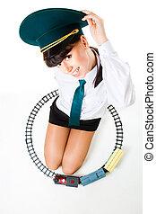 Big girl play railroad