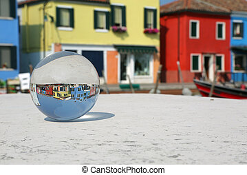 glass sphere in Burano Island near Venice - big glass sphere...