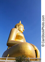 Big gold buddha statue at Wat Muang,Thailand