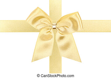 Big gold holiday bow perfectly isolated on white background (very easy to cut out)