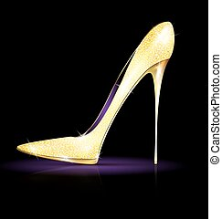 big gold shoe - dark background and the golden ladys...