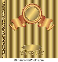 Big gold vintage photo album cover (vector)