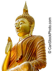 Big Golden Buddha statue in Thailand temple in white background with clipping path