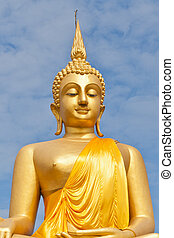 Big Golden Buddha statue in Thaland temple