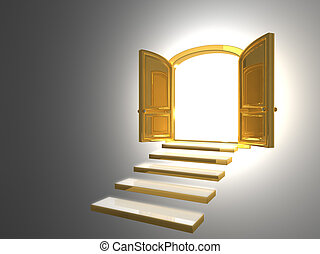Big Golden Door opened on white with some gold steps
