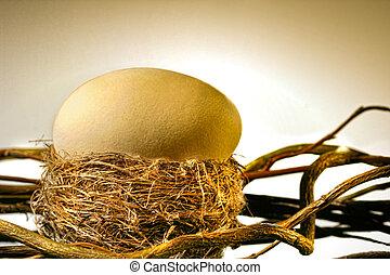 Big golden egg in bird's nest