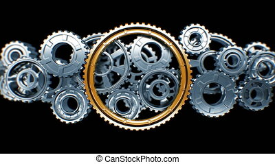 Big Golden Gear Cooperating with Steel Gears in Working Mechanism with DOF Blur. Beautiful Looped 3d Animation with Alpha Matte. Teamwork Business and Technology Concept. 4k Ultra HD 3840x2160.