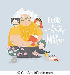 Big grandmother reading book to her grandchildren