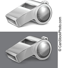 big gray whistle isolated on white background vector...