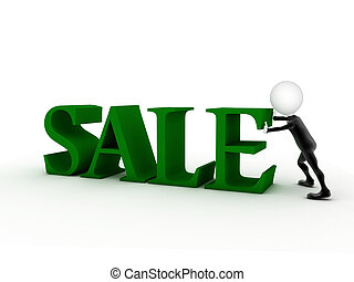 big green 3d letters forming the word SALE - 3d rendering illustration