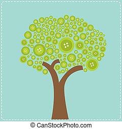 Big green button tree. Flat design.