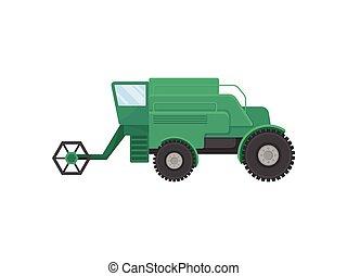 Big green combine. Vector illustration on white background.