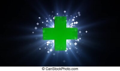 Big green cross with bright light. Bright beam of light with...