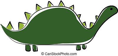 Big green dinosaur, illustration, vector on white background.