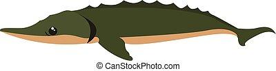 Big green fish, illustration, vector on white background.