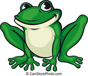 Big green frog isolated on white. Vector illustration