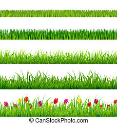 Big Green Grass And Flowers Set With Gradient Mesh, Isolated...
