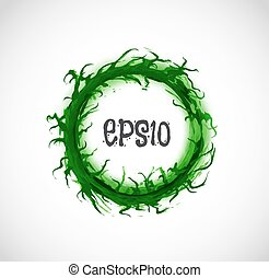 Big green grunge circle with place for your text on white background. Vector illustration.