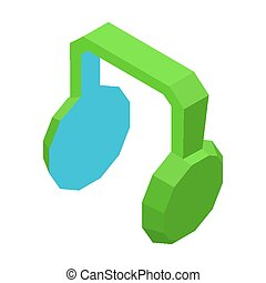 Big green headphones icon for music isolated illustration