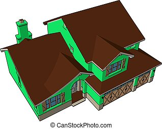 Big green house, illustration, vector on white background.