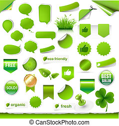 Big Green Labels Set - Big Green Labels, Ribbons And Objects...