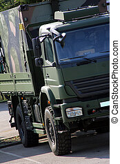 big green military truck for troop transporting