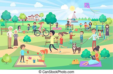 Park activities vector illustration. Kids play together on swings with kite, couples on benches and jogging, man with dog, women do yoga and read book